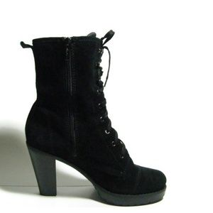Kenneth Cole Lace Up Suede Booties Black